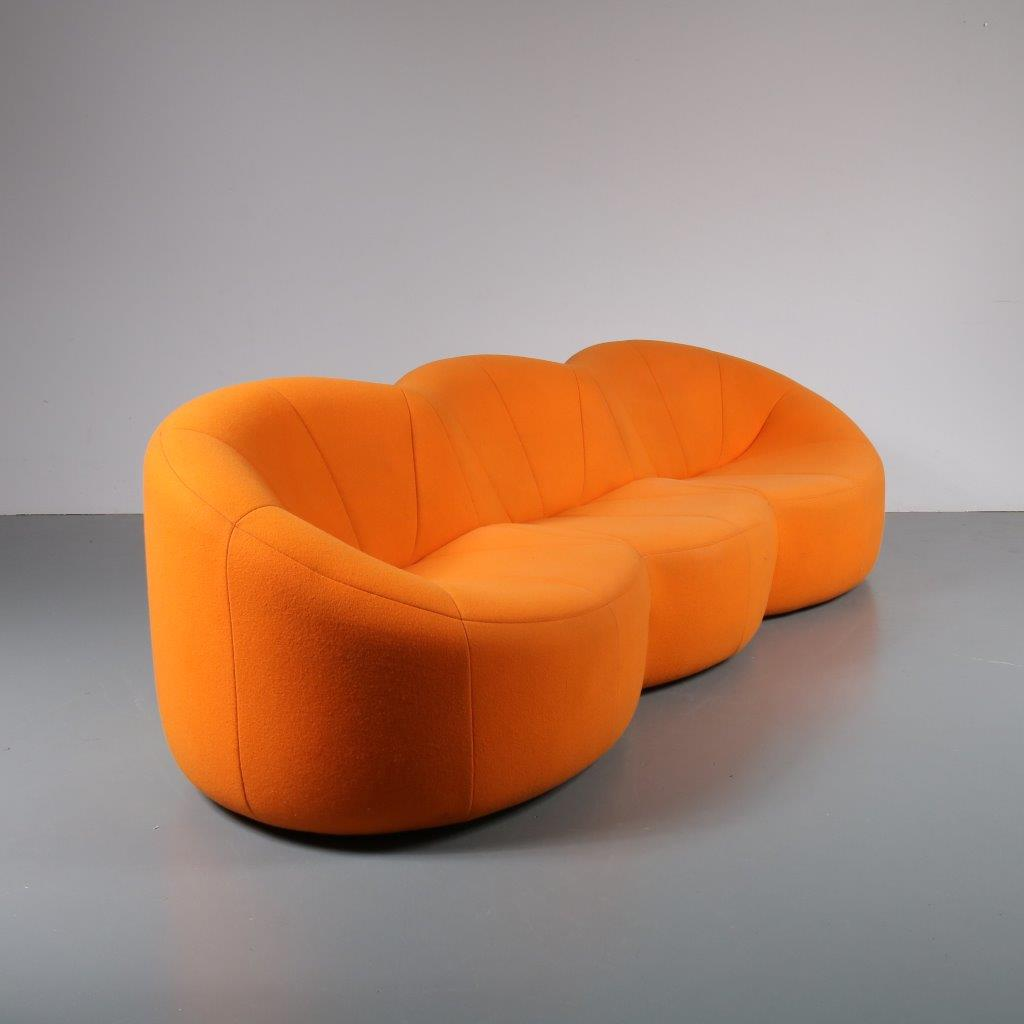 Pierre Paulin Sofa 1807 1 254 M22727 1970s Unique Pumpkin Sofa With Original