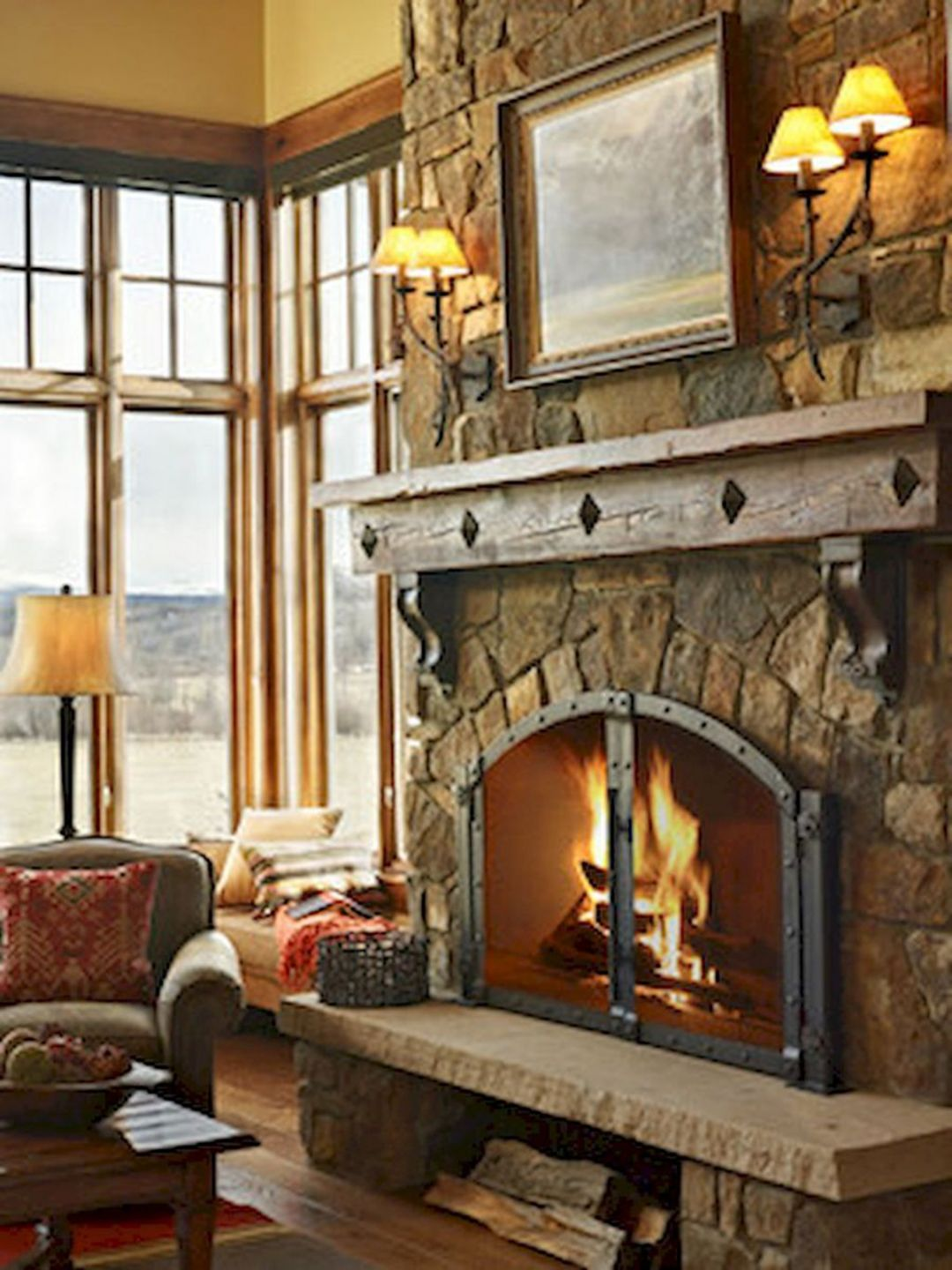 30 Gorgeous Farmhouse Fireplace Mantel Design And Decor For Cozy Winter Dexorate