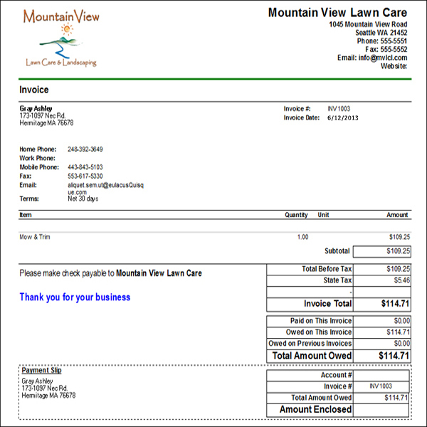 Blank Lawn Care Invoice | Free Cover Letter Templates