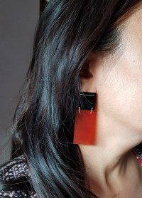 Red and Black onyx 925 Sterling silver earrings