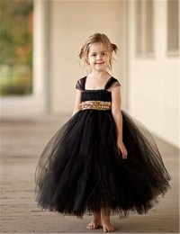 Fashion Gold Sequin Black Flower Girl Dresses Baby Girl ...