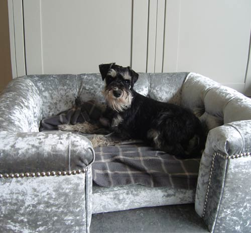 Sofa Soft Sandringham Crushed Velvet Luxury Dog Bed In Silver
