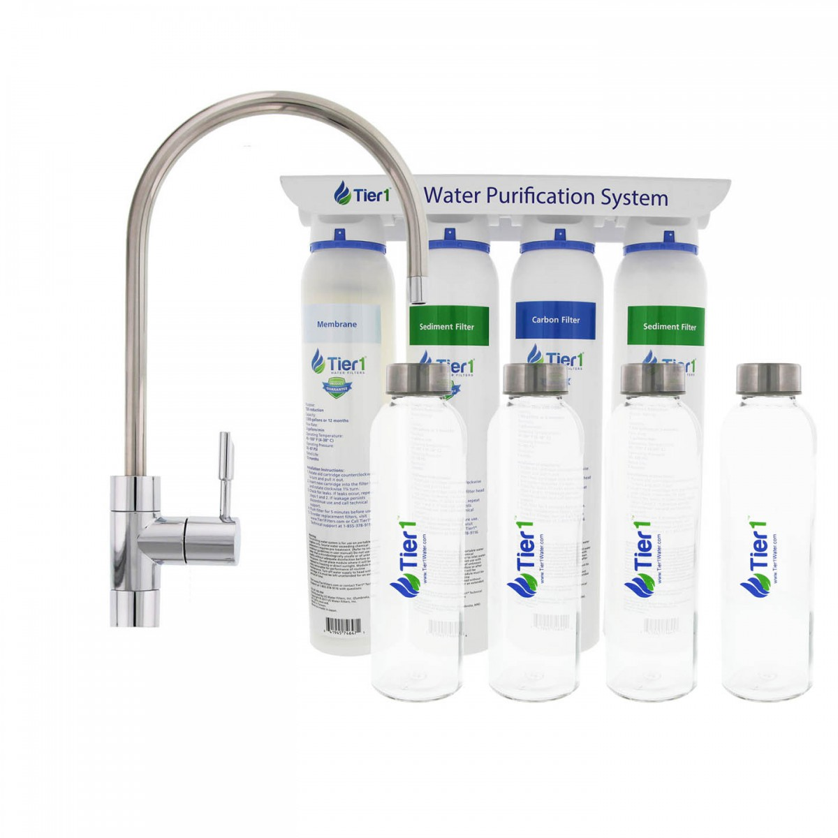 Carbon Water Filter System 4 Stage Ultra Filtration Hollow Fiber Quick Change Drinking Water Filter System With 4 Reusable Glass Water Bottles By Tier1