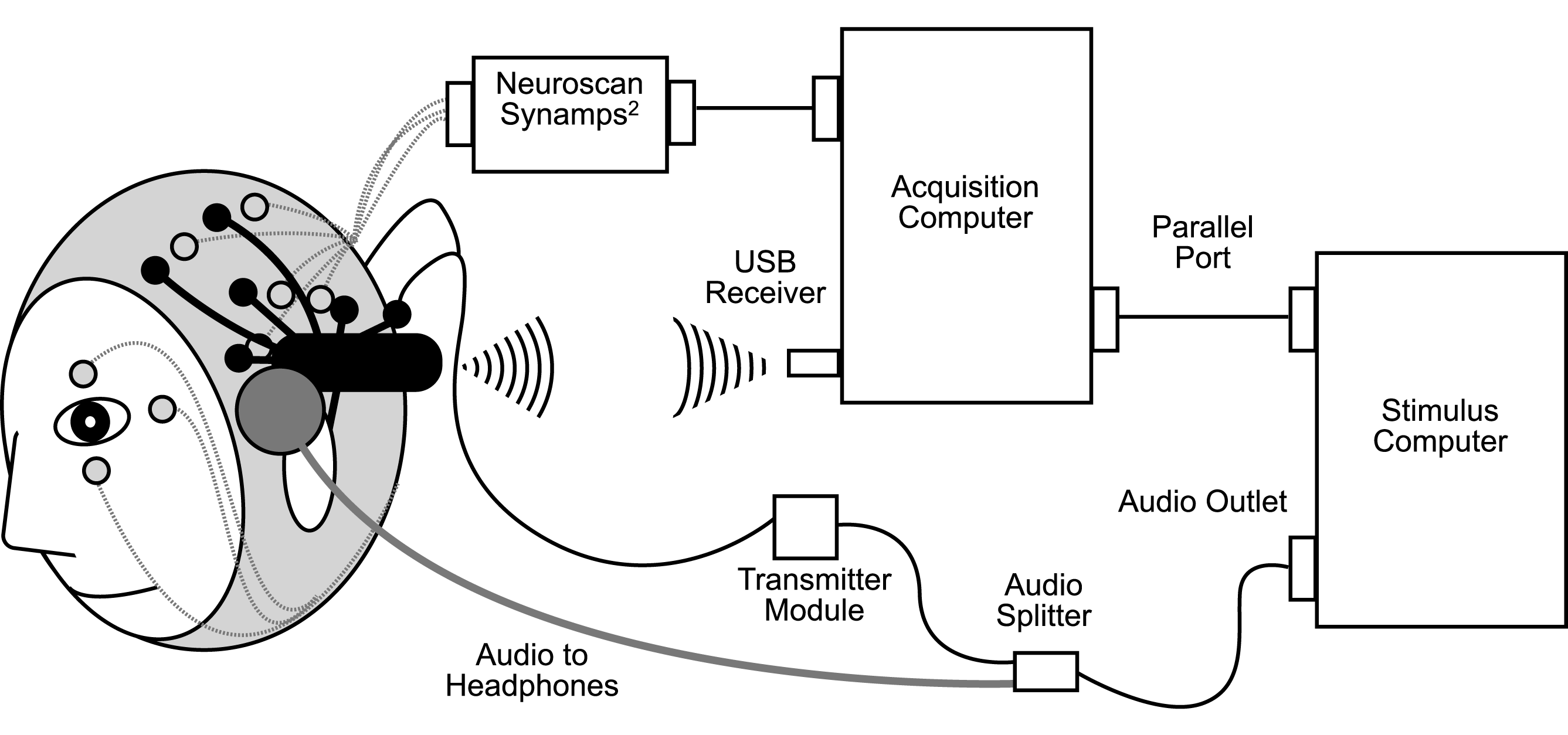 schematic diagram of simultaneous neuroscan in grey and epoc in