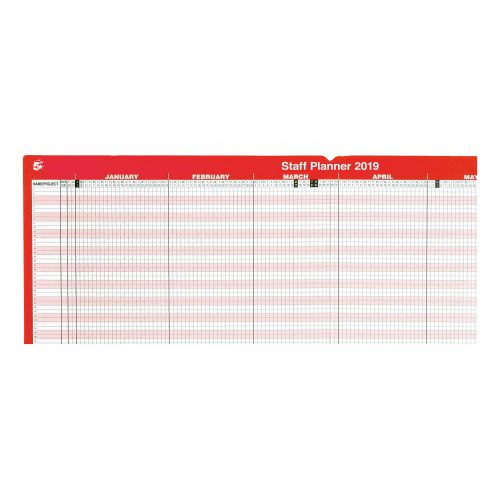 5 Star Office 2019 Staff Planner Mounted Landscape with Planner Kit