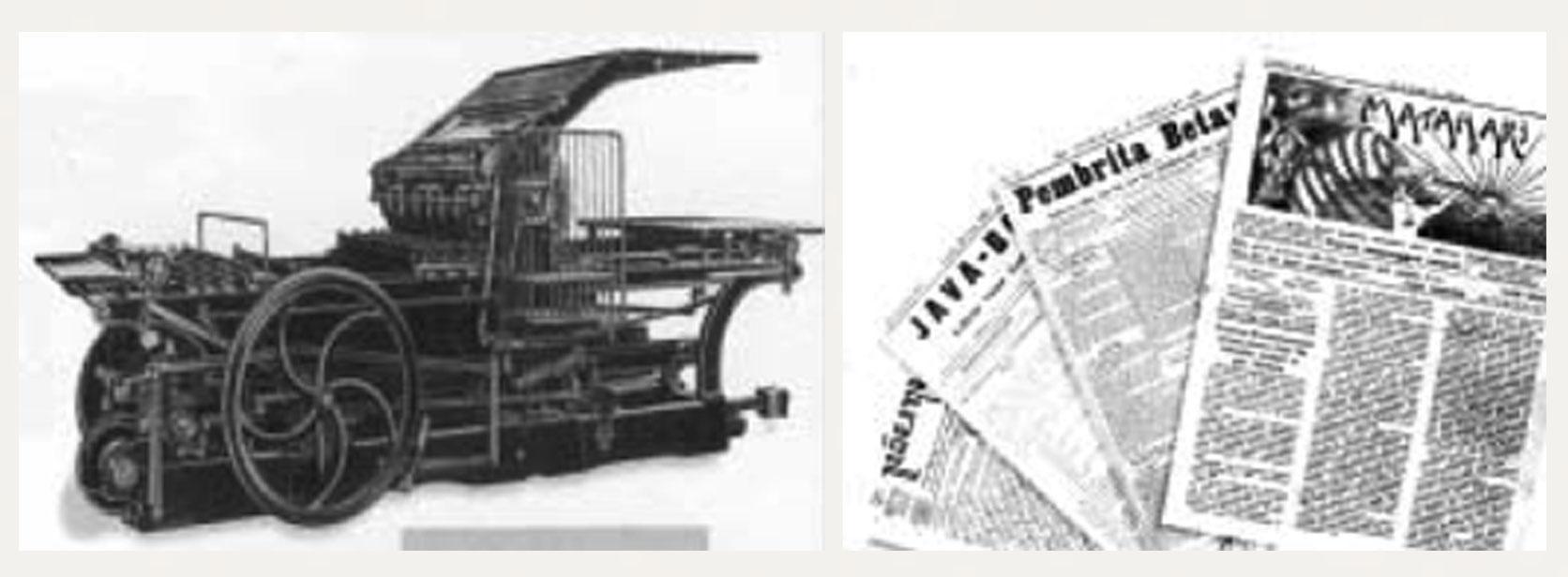 Gambar 1. (a) Mesin cetak merk Faber & Schleider yang diduga diimpor pertama kali di wilayah Hindia Belanda di abad ke-19; (b) Beberapa media cetak yang terbit di paruh kedua abad ke-19 hingga tahun 1920-an.
