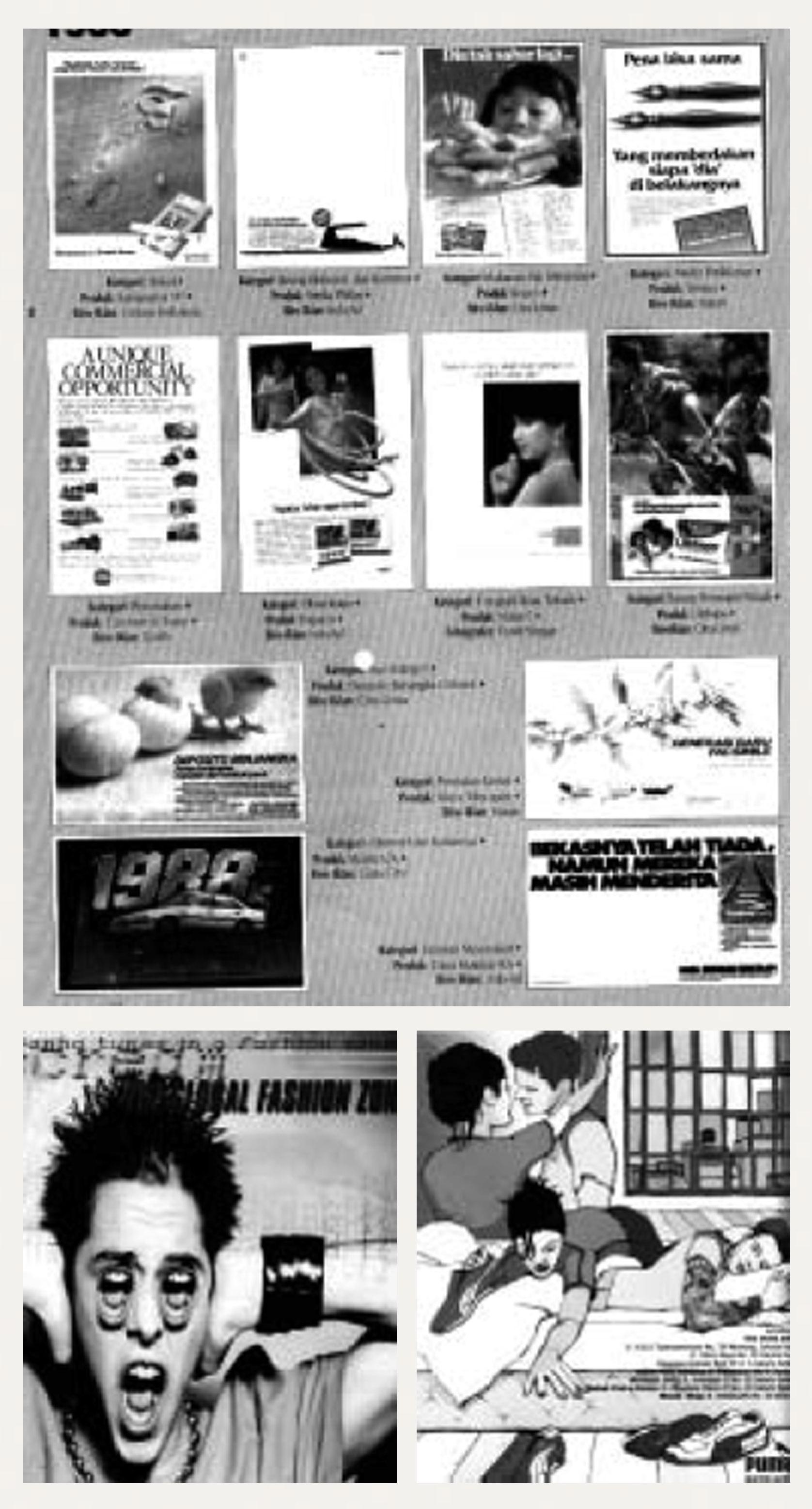 Gambar 5. (a) Sejumlah karya iklan di tahun 1980-an sebagai nominator pemenang penghargaan iklan terbaik Citra Pariwara dengan sejumlah gaya visual Pop-Modern; (b & c) dua buah iklan dalam majalah Trolley yang terbit akhir dekade 1990-an dengan gaya visual Posmodern.(Sumber: Ditjen Pembinaan Pers dan Grafika,1998)