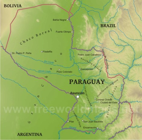Paraguay is divided into strikingly different eastern and western regions by the Rio Paraguay. The southeastern Paranena region can be generally described as consisting of an area of highlands that slopes toward the Rio Paraguay. The Chaco in the nothwestern region is predominantly lowlands, also inclined toward the Rio Paraguay, that are alternately flooded and parched. Image by freeworldmaps.net.
