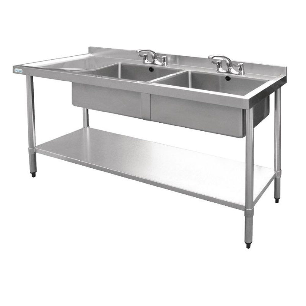 Desague Fregadero Dos Senos Fregadero Industrial Doble De Acero Inox Doble Mesa Derecha 1800mm Vogue U909