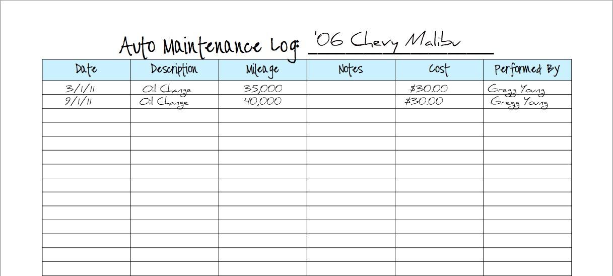 Keeping a Vehicle Maintenance Log