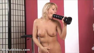 Horny blonde riding a massive black rippled brutal dildo in HD