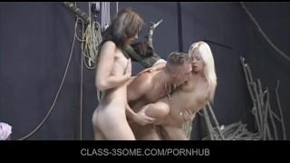 Carpenter's cock screws two horny babes