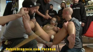 Gorgeous Slut With Big Boobs Is Humiliated In Retail Store