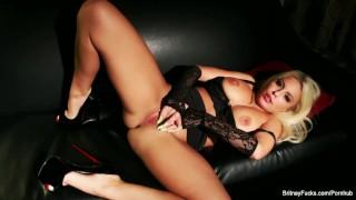 Super babe Britney Amber masturbates in black lingerie