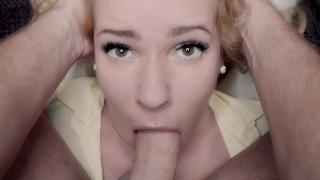Slow Deep Sensual BlowJob and Huge Cumshot on Kate Truu cute Face