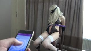 Bondage & fun with LELO remote control vibrator to orgasm