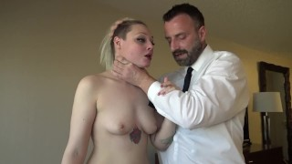Hardfucked British skank choked and fed with doms jizz