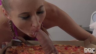 Delicious Pizza Topping - Delivery Girl Wants Cum in Mouth