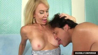Blonde Grandma Erica Lauren Takes a Long Dick in Her Cakehole and Cunt