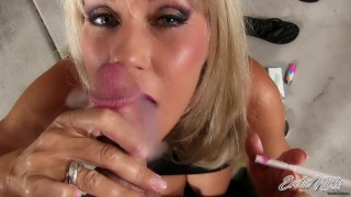 Fratboy Cums All Over MILF Tits After POV Smoking Blowjob