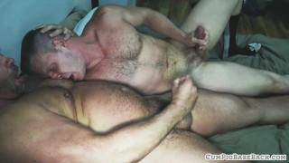 Mature hunk bareback pounding younger bear