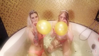 2 hot blondes taking balloons Dirty Dutch party and monsterdildo strapon
