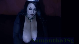 Busty Witch Samantha 38g cosplay on live cam show archive flashing big boob
