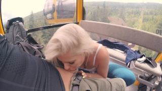 4K Public BJ and Anal Creampie in Ski Lift and lot of fuck in mountain hike