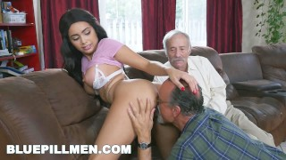 BLUE PILL MEN - Gorgeous Black Pornstar Aaliyah Hadid Fucks Old Men