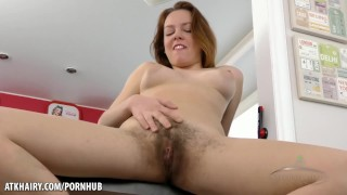 Candy Red fingers her amazing hairy bush