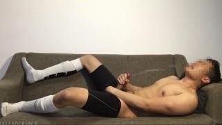 Football Jock Post-game Jerkoff: Cums Huge Load