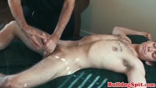 Euro stud cums during kinky cock massage