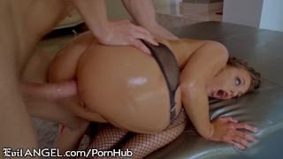 EvilAngel Gia Derza's Ass Oiled Up for Hard Shaft & Cum Shower