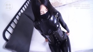 Girl first try in wearing latex with high heels, bondage and breathplay
