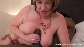 Mature busty housewife SpeedyBee takes on huge black cock