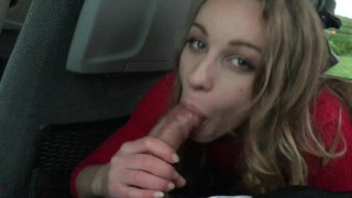 Angel Emily public blowjob and fuck in the bus with creampie