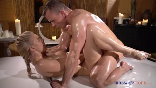 Massage Rooms Sensual slick sex with busty horny blonde Nathaly Cherie