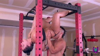 Big Tits Brunette gets an intense anal fuck in the gym after core workout