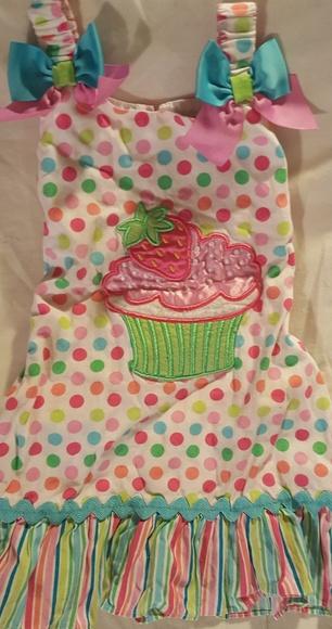 Youngland Dresses Adorable Cupcake Polka Dots Stripes Fun Dress
