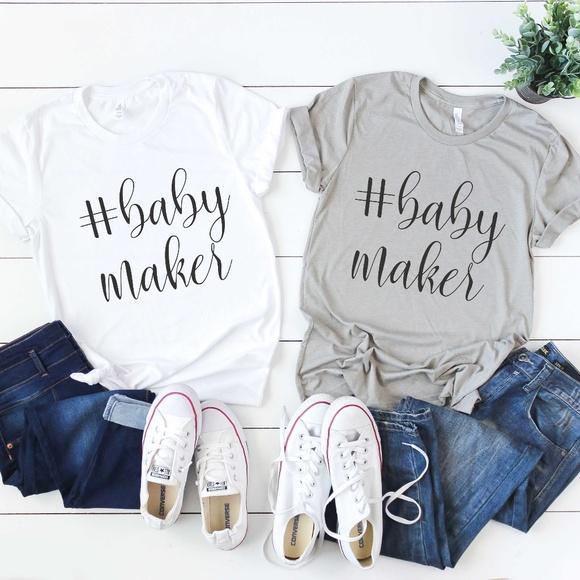 Tops Baby Maker New Mom Pregnancy Announcement Shirt Poshmark
