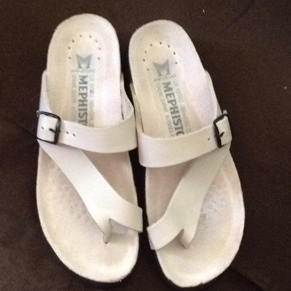 Mephisto Shoes Helen White Sandals Size 37 Poshmark
