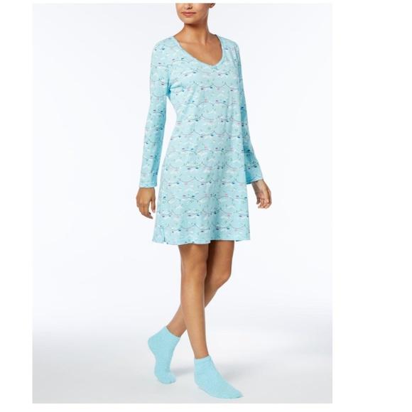 Charter Club Intimates  Sleepwear Ski Lift Print Pajama W Fuzzy
