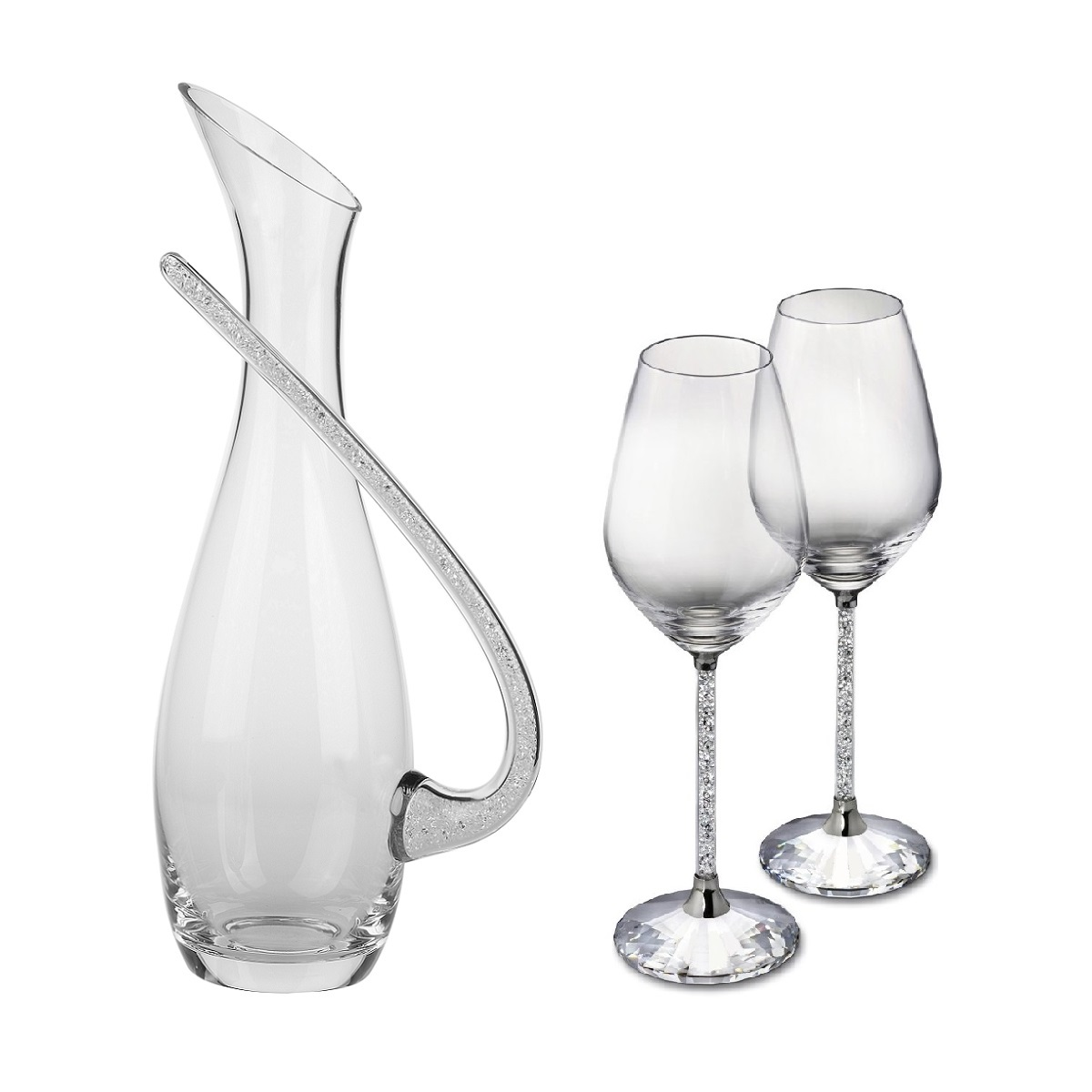 Decanter Wine Glas Pair Of Swarovski Crystal Filled Stem Wine Goblets Crystal Filled Decanter