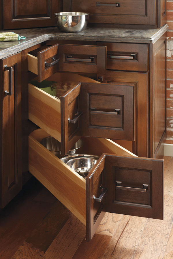 Trend Kitchen Cabinets Three Drawer Corner Cabinet - Diamond Cabinetry