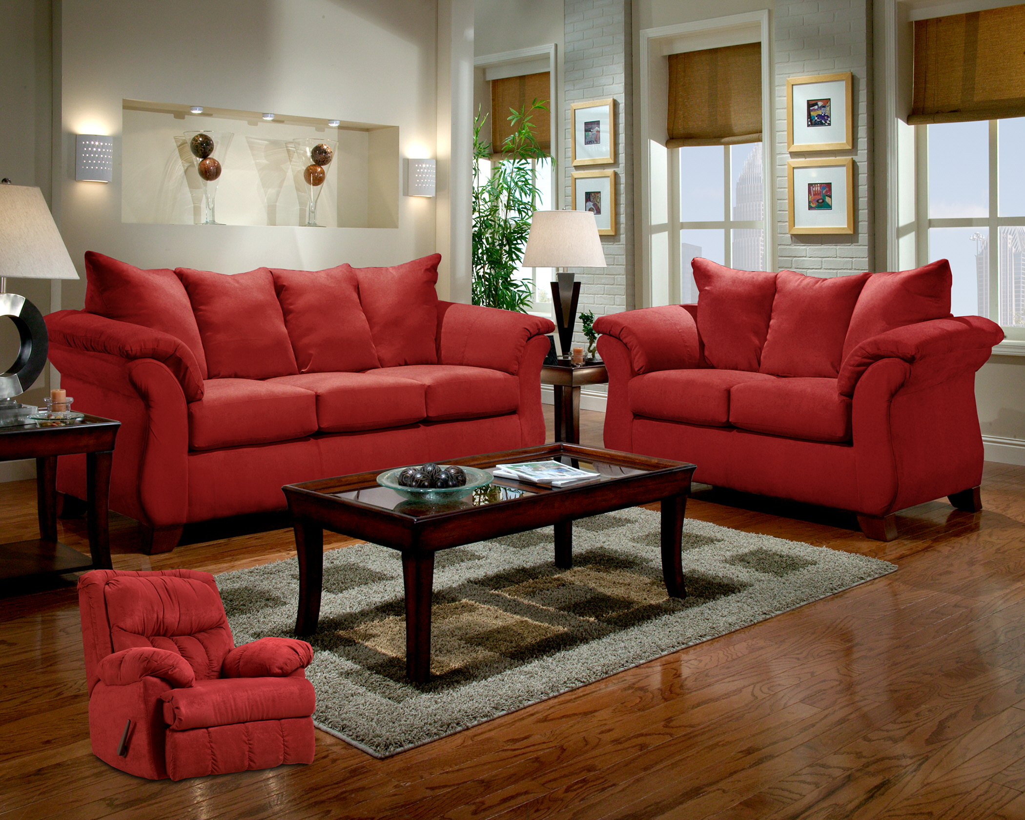 Red Brick Microfiber Sofa Diamond Furniture Premier