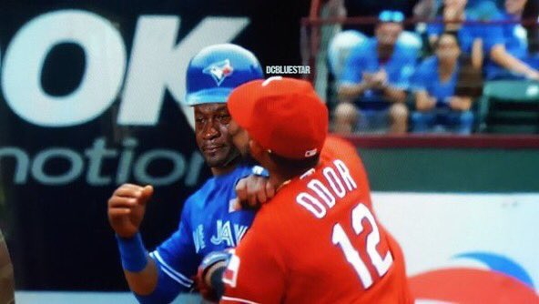Roughned Odor knocked Jose Bautista the fuck out!