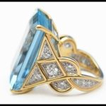 Aquamarine and diamond ring by Cartier.