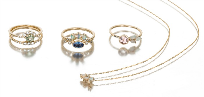 Jennie Kwon's tiny, beautiful jewels are perfect for stacking or layering. Rings and an opal necklace shown here.