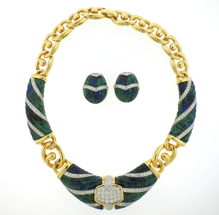 A 1980s azurite and diamond set in gold by David Webb. At Oakgem.