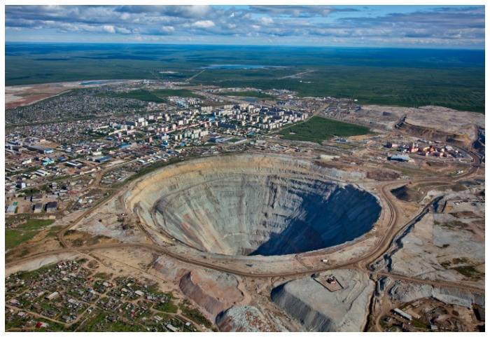 Diamonds Do Good: An aerial photograph of Mirnyy, the center of ALROSA's diamond mining operations in Siberia.